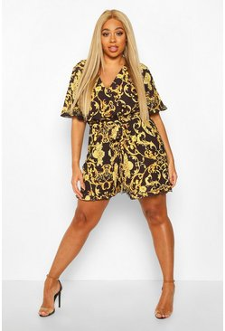 Womens Black Plus Chain Print Ruffle Wrap Self Belt Playsuit