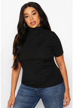 Black Plus Rib High Neck Cap Sleeve Top