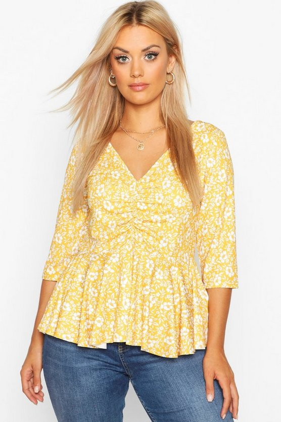 Mustard Plus Floral Ruched Front Peplum Top