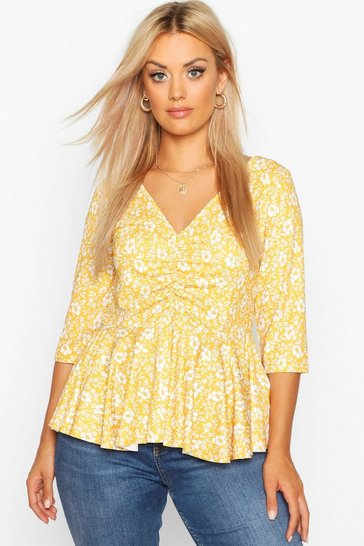 Womens Mustard Plus Floral Ruched Front Peplum Top