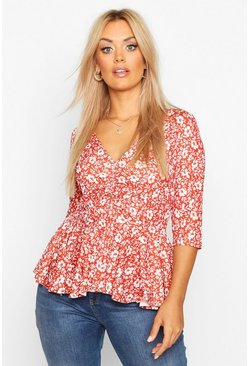 Womens Terracotta Plus Floral Ruched Front Peplum Top