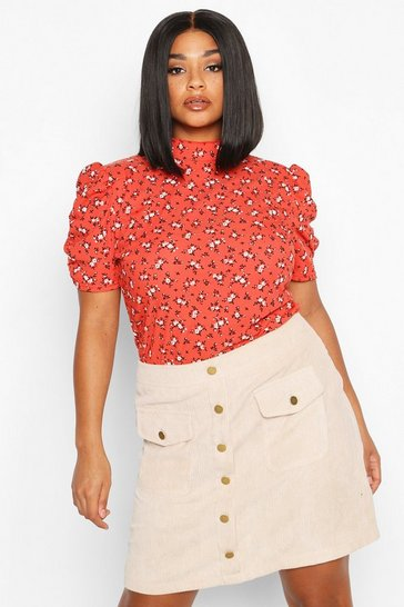 Womens Rust Plus Ditsy Floral Puff Sleeve High Neck Top