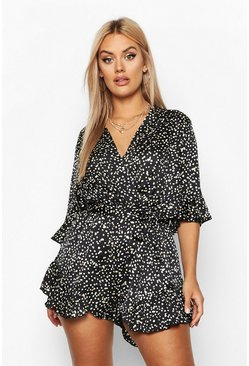 Black Plus Metallic Smudge Spot Ruffle Wrap Tie Playsuit