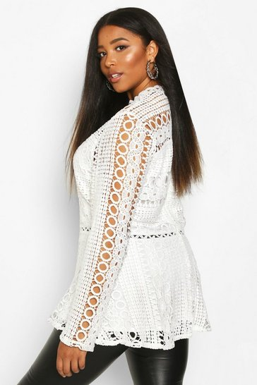 Womens Ivory Plus Lace High Neck Peplum Top