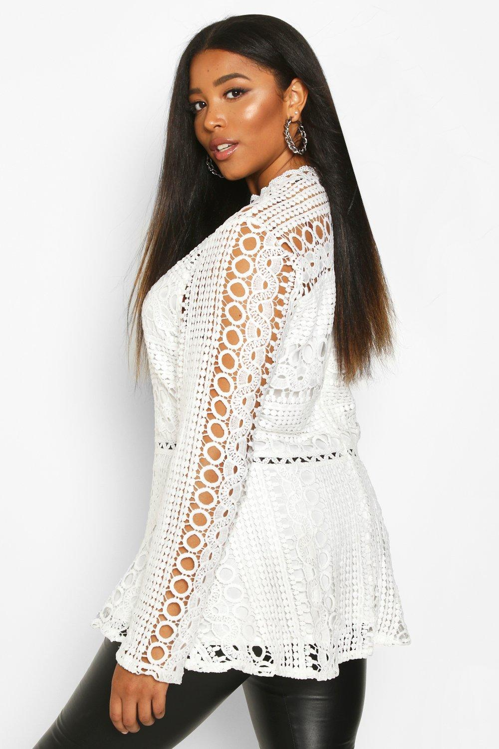 Plus Lace High Neck Peplum Top by Boohoo