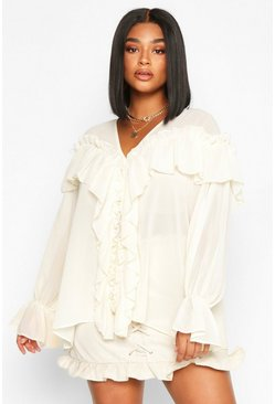 Womens Ivory Plus Woven Ruffle Detail Blouse