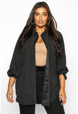 Womens Black Plus Suedette Pocket Detail Oversized Shirt