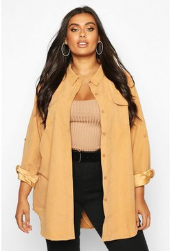 Womens Camel Plus Suedette Pocket Detail Oversized Shirt
