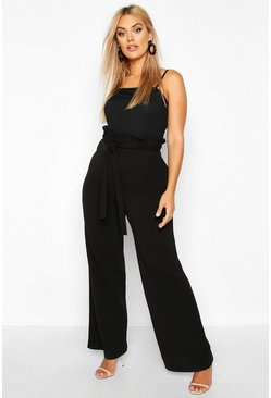 Black Plus Ruffle High Waist Tie Belt Trouser