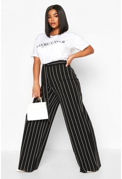 Black Plus Stripe High Waist Tailored Trousers