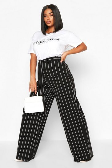 Womens Black Plus Stripe High Waist Tailored Trousers