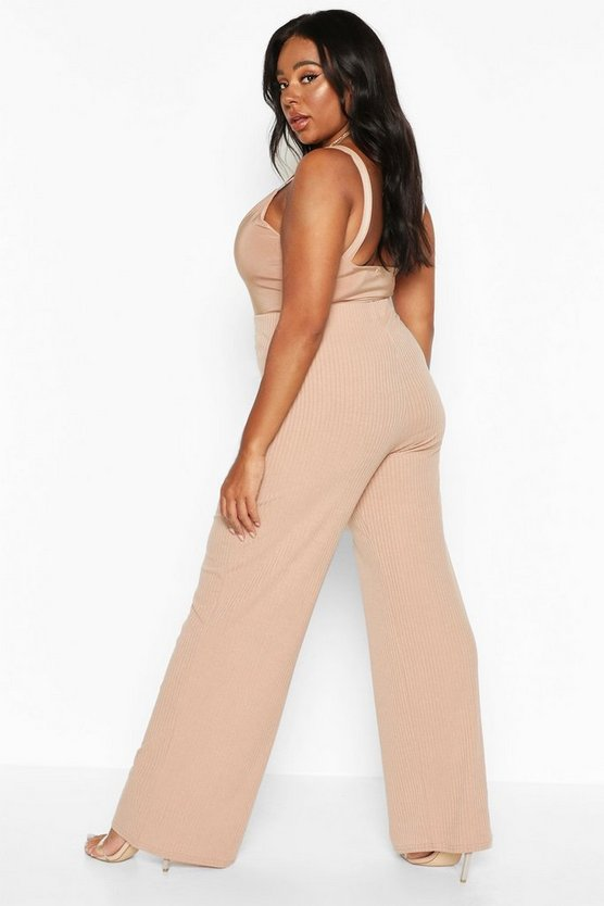 Plus Soft Rib Wide Leg Trousers