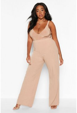Camel Plus Soft Rib Wide Leg Trousers