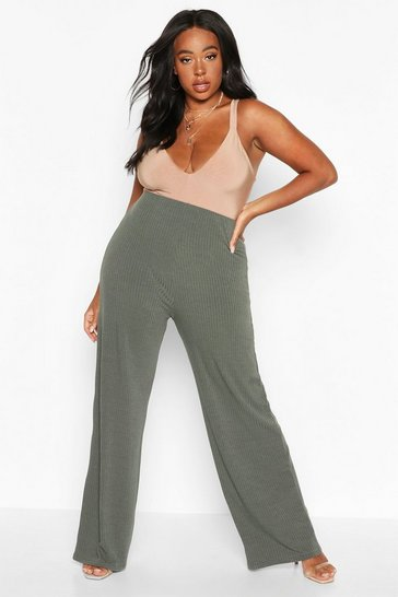 Womens Khaki Plus Soft Rib Wide Leg Trousers