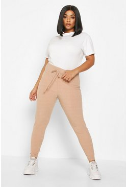 Stone Plus Soft Rib Tie Front Skinny Jogger