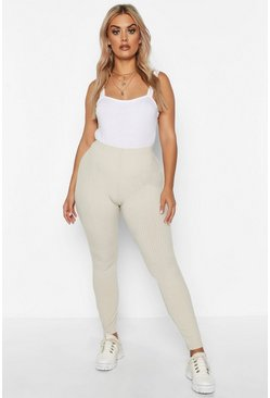 Plus Weich gerippte Leggings, Steingrau, Damen