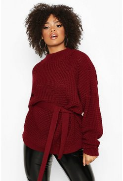 Dam Berry Plus Chunky Knitted Tie Belt Jumper