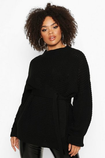 Womens Black Plus Chunky Knitted Tie Belt Jumper