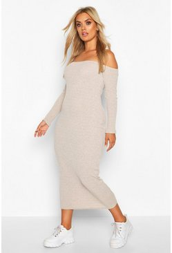 Womens Stone Plus Rib Drop Shoulder Midi Dress