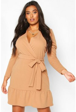 Womens Taupe Plus Ruffle Puff Sleeve Wrap Dress