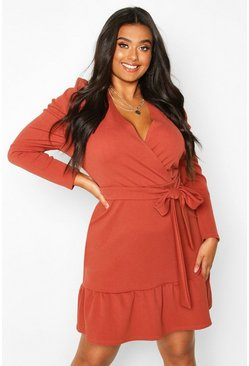 Terracotta Plus Ruffle Puff Sleeve Wrap Dress