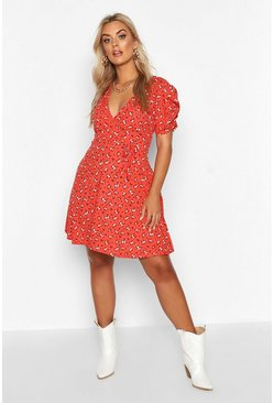 Womens Rust Plus Ditsy Floral Wrap Skater Dress
