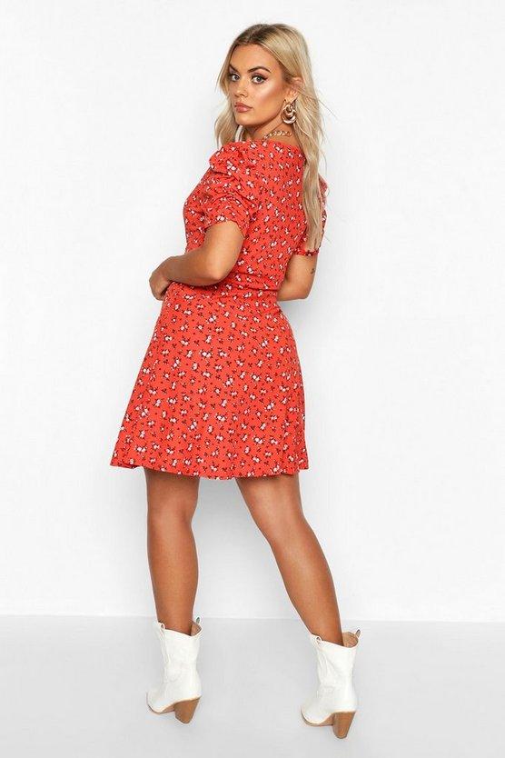 Plus Ditsy Floral Wrap Skater Dress
