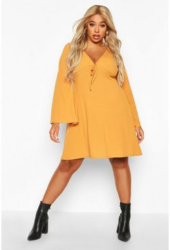 Womens Mustard Plus Rib Wide Sleeve Skater Dress