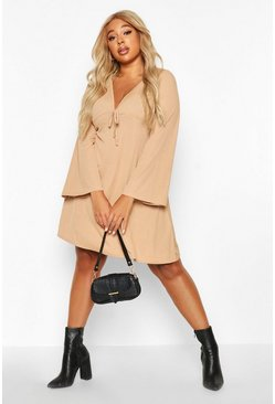 Womens Stone Plus Rib Wide Sleeve Skater Dress