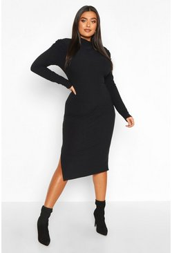 Womens Black Plus Soft Rib Puff Sleeve High Neck Midi Dress