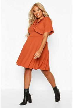 Womens Rust Plus Rib Ruffle Wrap Skater Dress