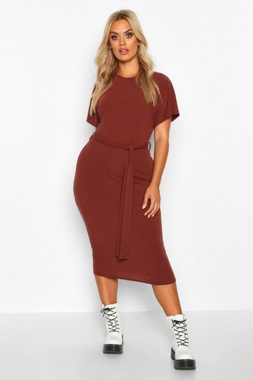 Chocolate Plus Soft Rib Tie Belt Midi Dress