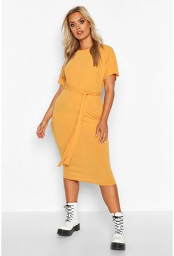 Womens Mustard Plus Soft Rib Tie Belt Midi Dress
