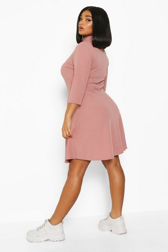 Plus Soft Rib High Neck Skater Dress