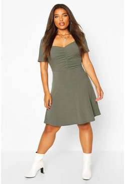 Khaki Plus Soft Rib Ruched Detail Skater Dress