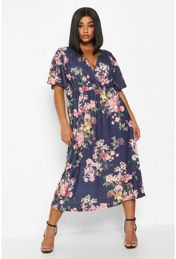 Womens Navy Plus Floral Wrap Flutter Sleeve Midi Dress