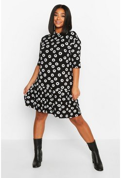 Black Plus Daisy Print Ruffle Hem T-Shirt Dress