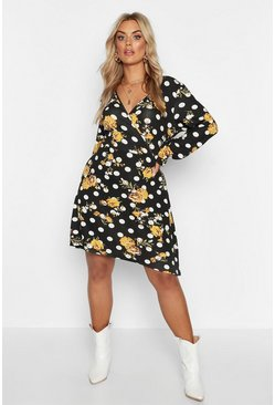 Black Plus Polka Dot & Floral Wrap Front Skater Dress