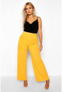 Mustard Plus High Waisted Tailored Wide Leg Trousers