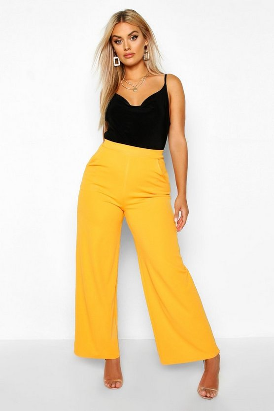 Plus High Waisted Tailored Wide Leg Trousers