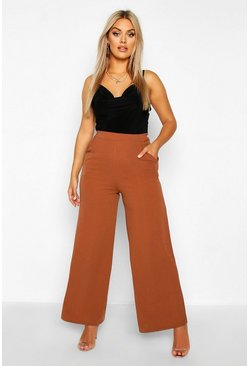 Womens Rust Plus High Waisted Tailored Wide Leg Trousers