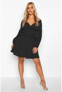 Womens Black Plus Bardot Peplum Skater Dress