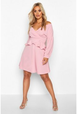 Rose Plus Bardot Peplum Skater Dress