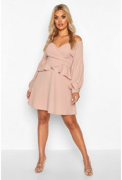 Dam Stone Plus Bardot Peplum Skater Dress