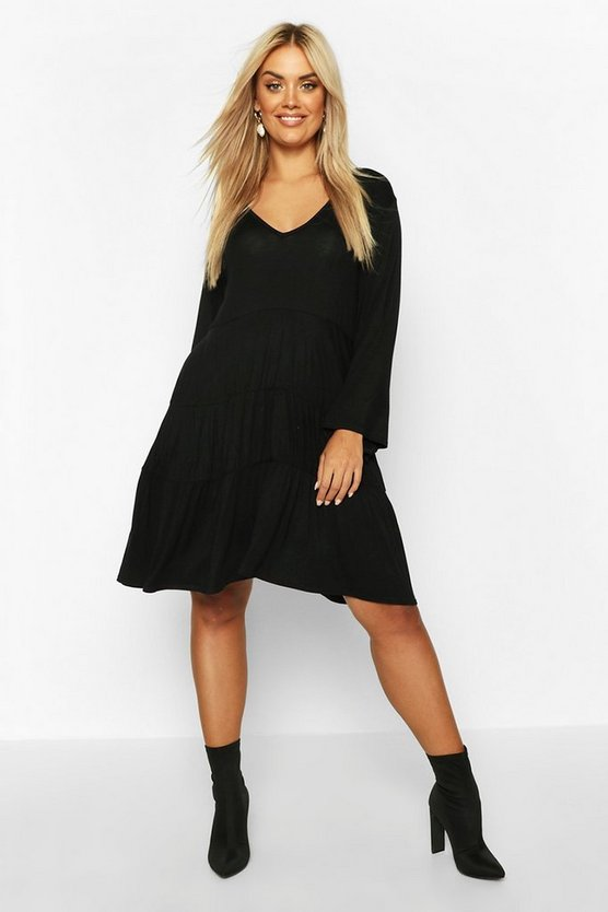 Black Plus Long Sleeve Tiered Smock Dress