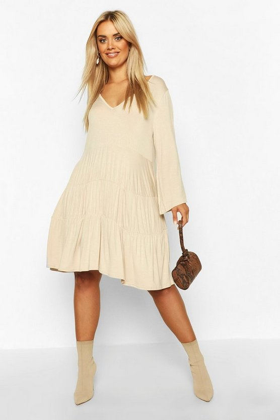 Stone Plus Long Sleeve Tiered Smock Dress