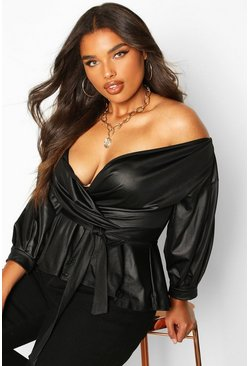 Womens Black Plus Leather Look Off The Shoulder Top