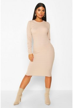 Womens Stone Petite Crew Neck Button Detail Midi Dress