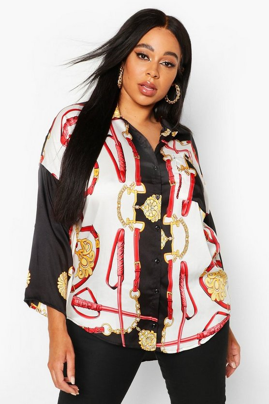 Plus Chain Print Satin Oversized Shirt by Boohoo