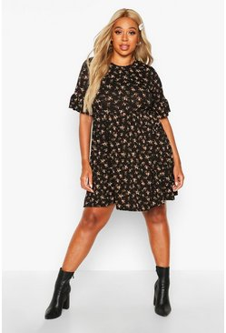 Womens Black Plus Ditsy Print Floral Smock Dress